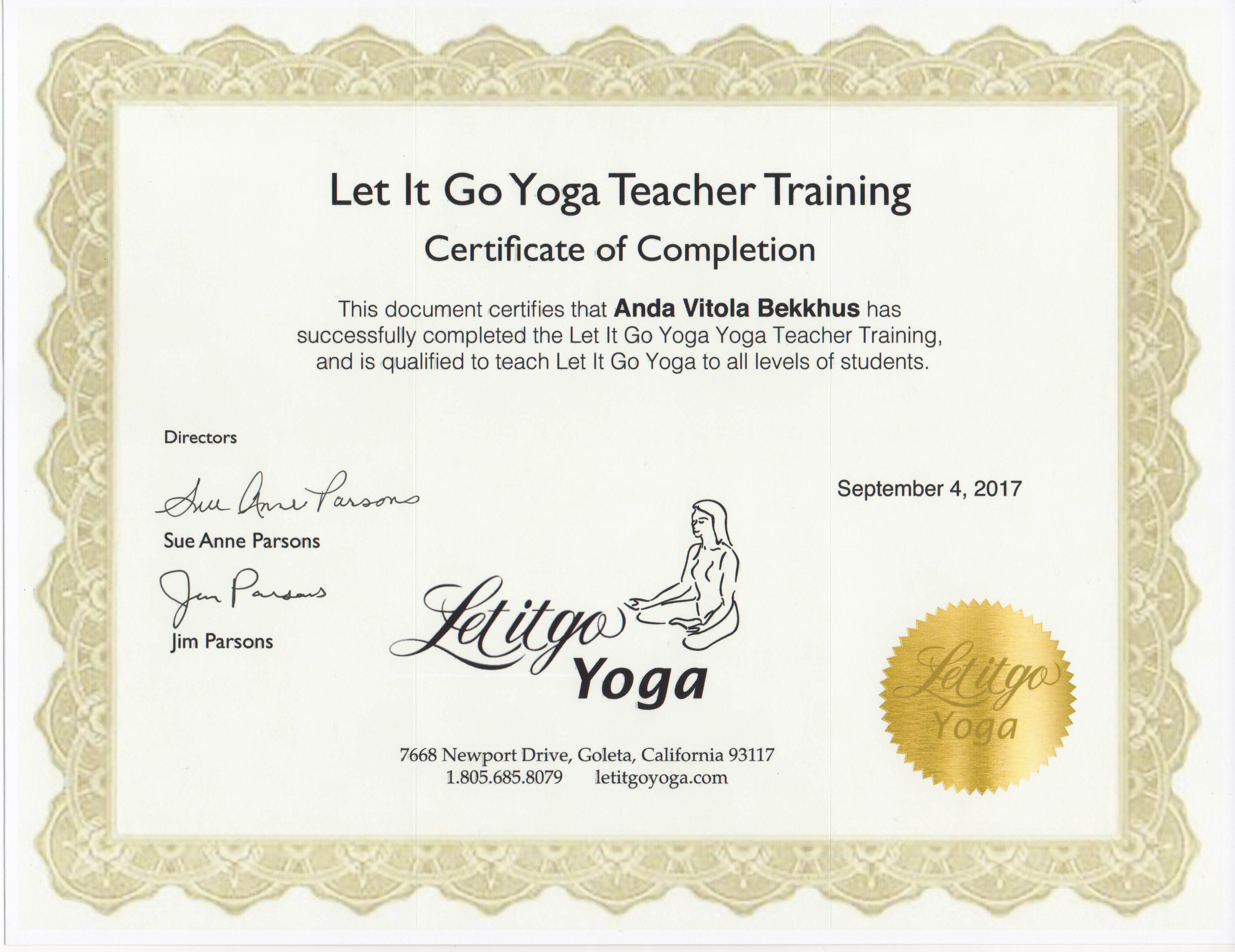 Yoga Teacher Training Let It Go Yoga